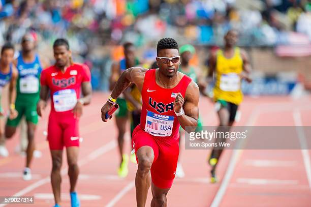 Manteo Mitchell heads into turn one of the fourth leg of the USA vs the World Men 4x400 during the Penn Relays at Franklin Field in Philadelphia...
