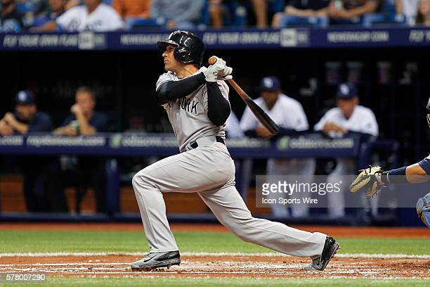 New York Yankees second baseman Brian Roberts triples in the 2nd inning of the MLB regular season game between the New York Yankees and Tampa Bay...