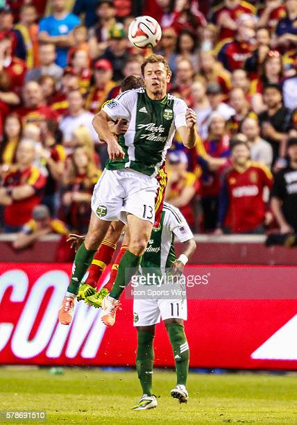 Portland Timbers midfielder Jack Jewsbury goes up for a header during the MLS game between Real Salt Lake and the Portland Timbers at Rio Tinto...