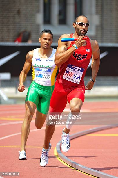 Quentin IglehartSummers of the USA leads John Steffensen of Australia during the Penn Relays at Franklin Field in Philadelphia Pennsylvania