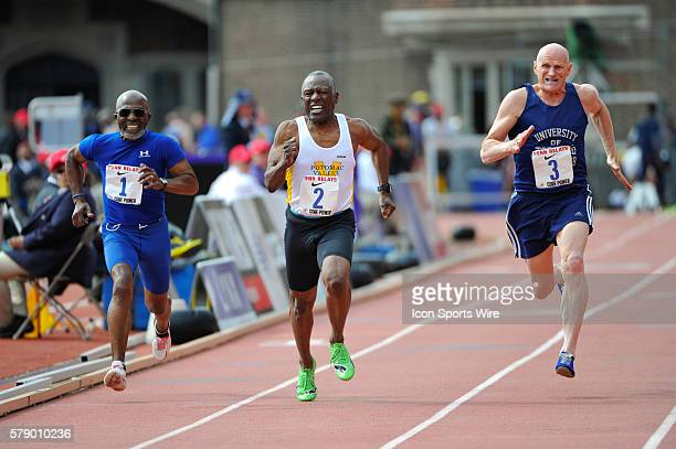 Robert Koontz out runs Tony Powell and Richard Jones in the Masters Men's 100m dash 70 and older at the Penn Relays at Franklin Field in Philadelphia...