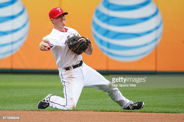 Texas Rangers second baseman Josh Wilson in action during the MLB baseball game between the Texas Rangers and Houston Astros at the Globe Life Park...