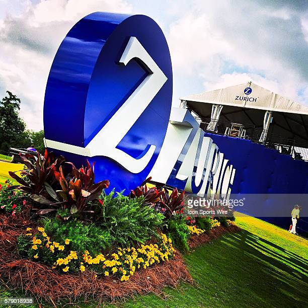25 April 2014 Zurich Classic of New Orleans The Zurich logo sits on the 18th hole of TPC Louisiana