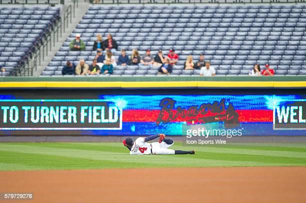 Atlanta Braves Outfield Eric Young Jr stretchibg before a regular season game between the Washington Nationals at Atlanta Braves game at Turner Field...
