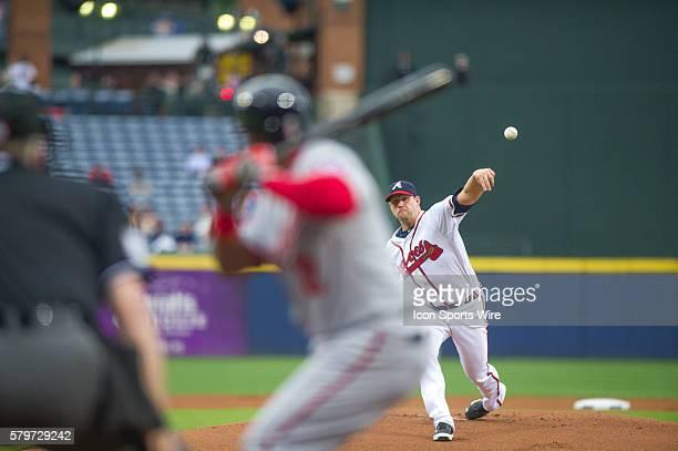 Atlanta Braves Pitcher Eric Stults during a regular season game between the Washington Nationals at Atlanta Braves game at Turner Field in Atlanta...