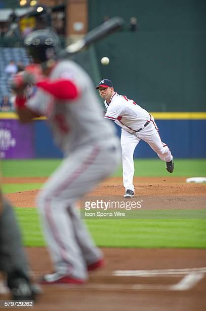 Atlanta Braves Pitcher Eric Stults pitching during a regular season game between the Washington Nationals at Atlanta Braves game at Turner Field in...