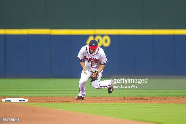 Atlanta Braves Second base Jace Peterson during a regular season game between the Washington Nationals at Atlanta Braves game at Turner Field in...