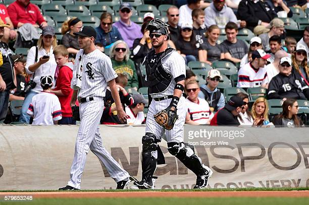 Battery mates Chicago White Sox starting pitcher Chris Sale and catcher Tyler Flowers prior to playing in a MLB game between the Chicago White Sox...