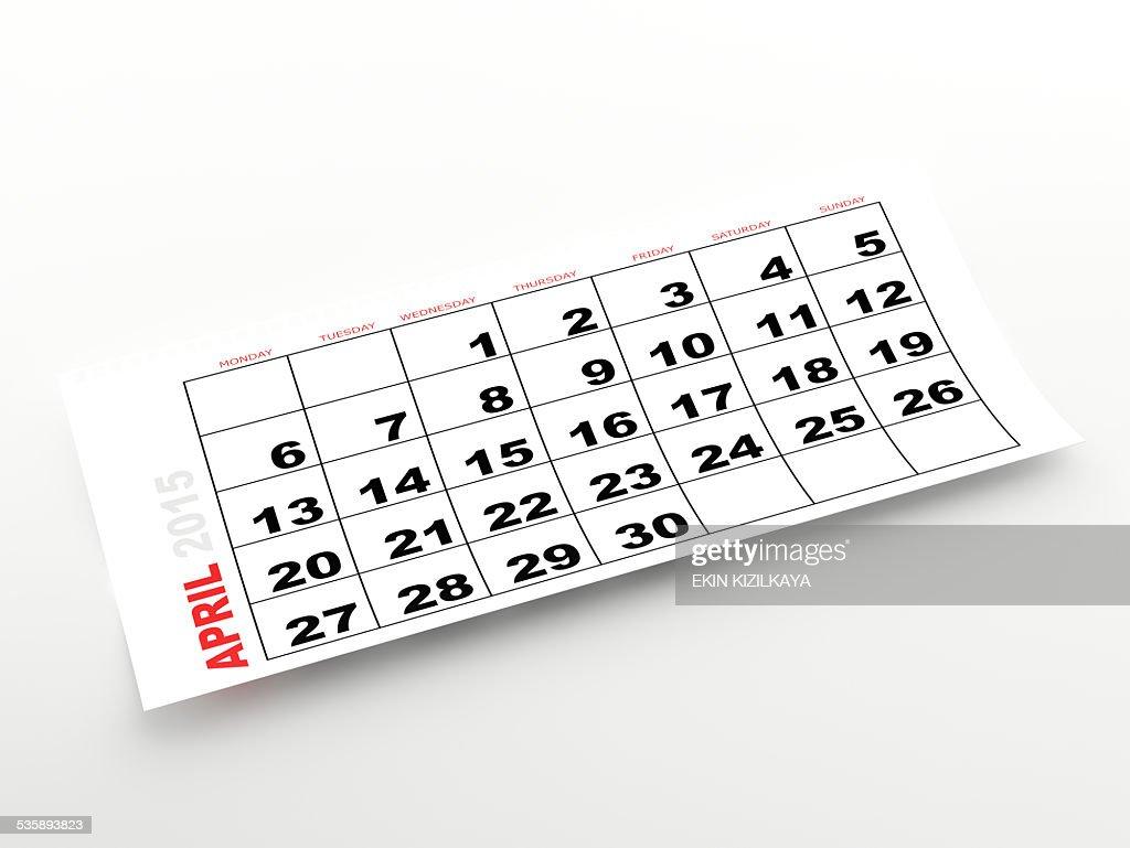 April 2015 calendar : Stock Photo