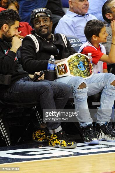 Hip Hop artist Wale attends the game at the Verizon Center in Washington DC where the Washington Wizards defeated the New York Knicks 10187
