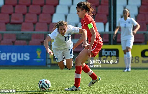 9 April 2015 Katie Zelem England in action against Cinza Zehnder Switzerland UEFA Women's Under 19 Championship Elite Round Group 4 Switzerland v...