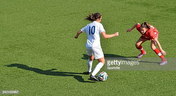 9 April 2015 Katie Zelem England in action against Janine Burla Switzerland UEFA Women's Under 19 Championship Elite Round Group 4 Switzerland v...
