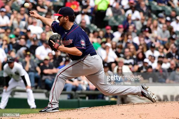 Minnesota Twins starting pitcher Phil Hughes pitching during a MLB game between the Minnesota Twins and the Chicago White Sox at U S Cellular Field...