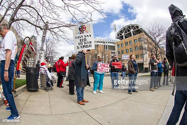 Native Americans protest the Cleveland Indians mascot Chief Wahoo outside Progressive Field in Cleveland OH prior to the Opening Day game between the...
