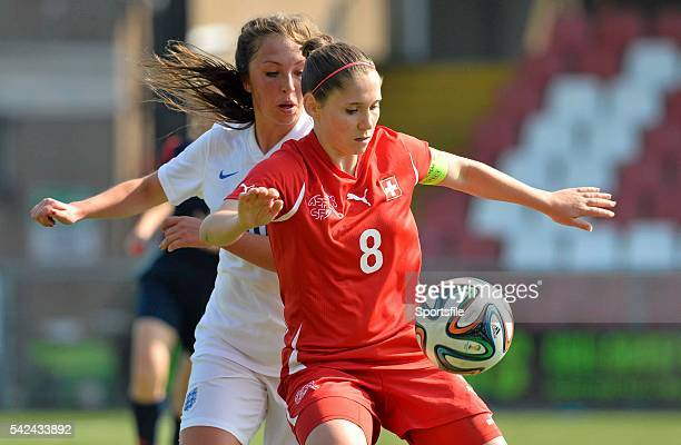 9 April 2015 Sandrine Mauron Switzerland in action against Katie Zelem England UEFA Women's Under 19 Championship Elite Round Group 4 Switzerland v...