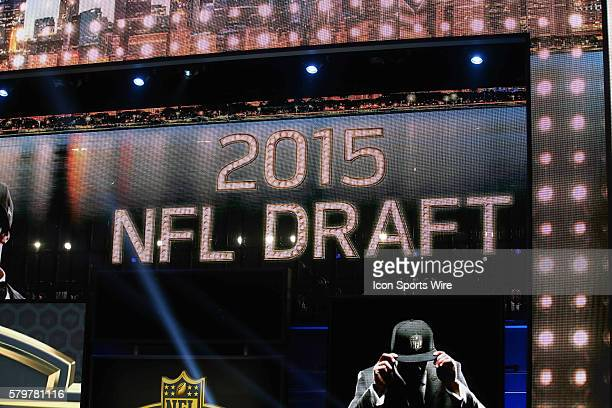 The 2015 NFL Draft logo during round 1 of the 2015 NFL Draft at Auditorium Theatre in Chicago IL