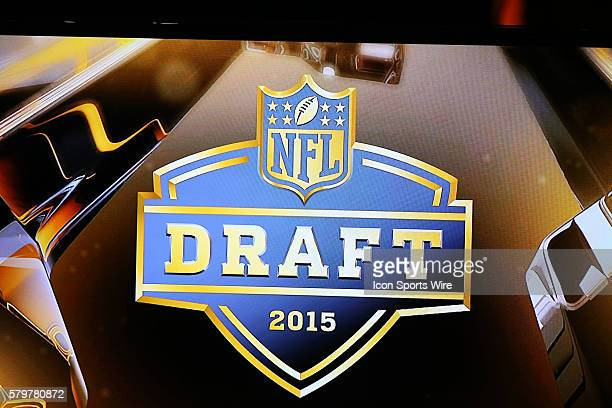 The NFL Draft logo on the video board during round 1 of the 2015 NFL Draft at Auditorium Theatre in Chicago IL