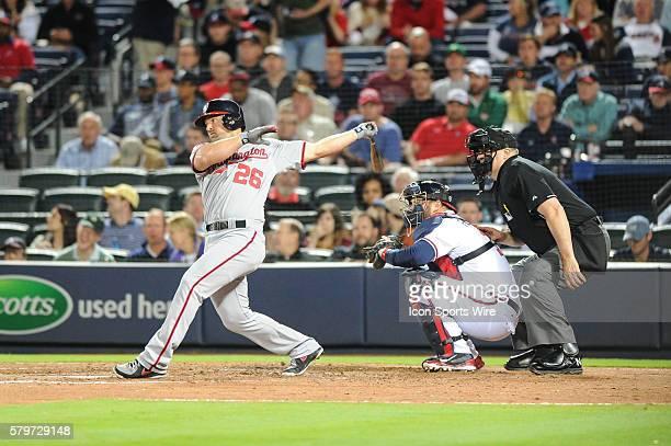 Washington Nationals Second base Dan Uggla in his return Atlanta during a regular season game between the Washington Nationals at Atlanta Braves game...
