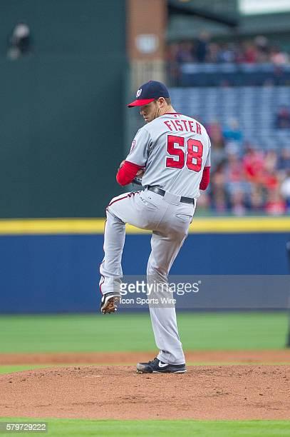 Washington Nationals Starting pitcher Doug Fister pitching during a regular season game between the Washington Nationals at Atlanta Braves game at...