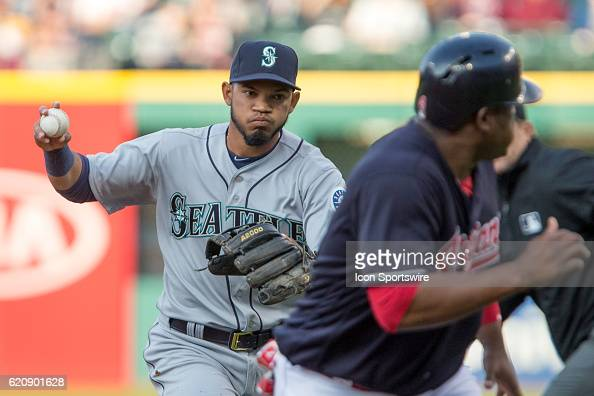 Seattle Mariners Infield Luis Sardinas [8619] has Cleveland Indians Third base Juan Uribe [2506] caught in a rundown during the second inning of the...