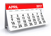 April 2017 Calendar. Isolated on White Background. 3D Illustration