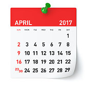April 2017 - Calendar. Isolated on White Background. 3D Illustration