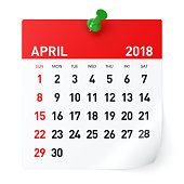 April 2018 - Calendar. Isolated on White Background. 3D Illustration