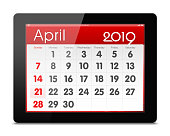 April 2019 year Calender on digital tablet isolated (Clipping path)