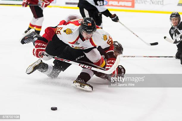 Charles Hudon of the BaieComeau Drakkar falls on the ice in game 3 during the third round of the 2014 QMJHL playoffs at the Centre d'excellence...