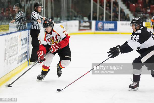 Valentin Zykov of the BaieComeau Drakkar tries to outplay Aaron Hoyles of the BlainvilleBoisbriand Armada in game 3 during the third round of the...