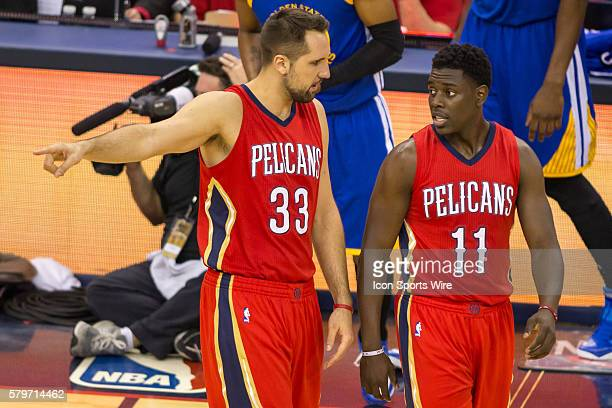 New Orleans Pelicans forward Ryan Anderson and New Orleans Pelicans guard Jrue Holiday during game 3 of the first round of the NBA Western Conference...