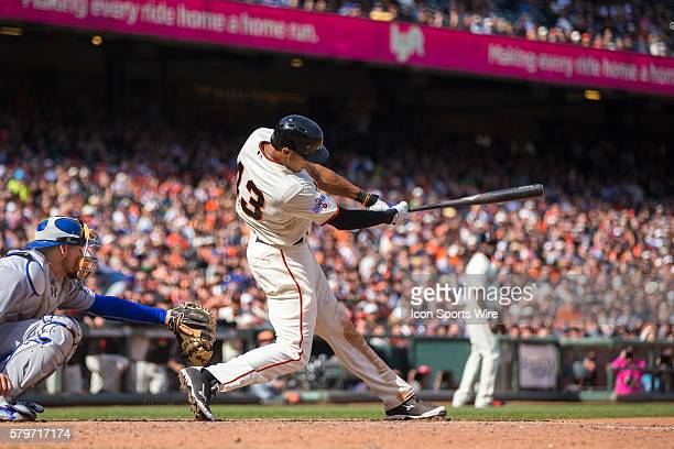 San Francisco Giants right fielder Justin Maxwell at bat and connecting to knock him the winning run in the 10th inning during a Major League...