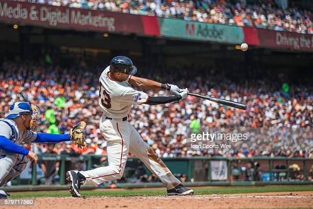 San Francisco Giants right fielder Justin Maxwell at bat and connecting with the ball in the 5th inning during a Major League Baseball game between...
