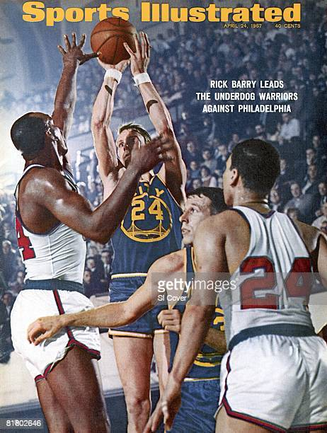 April 24 1967 Sports Illustrated Cover Basketball NBA Finals San Francisco Warriors Rick Barry in action taking shot vs Philadelphia 76ers...