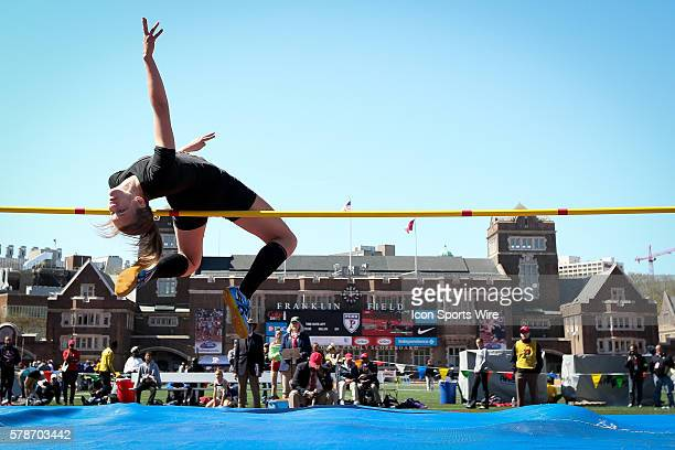 Abby Jones from Franklin Area Pennsylvania leaps over the bar during the high school girls high jump competition during the Penn Relays at Franklin...