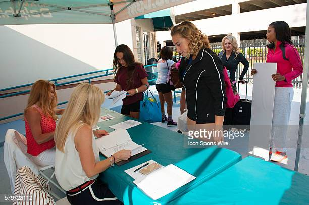 Ladies registering for the Cheerleader tryouts Preliminary and SemiFinal Auditions for the Miami Dolphins Cheerleaders at Doctor's Hospital Training...