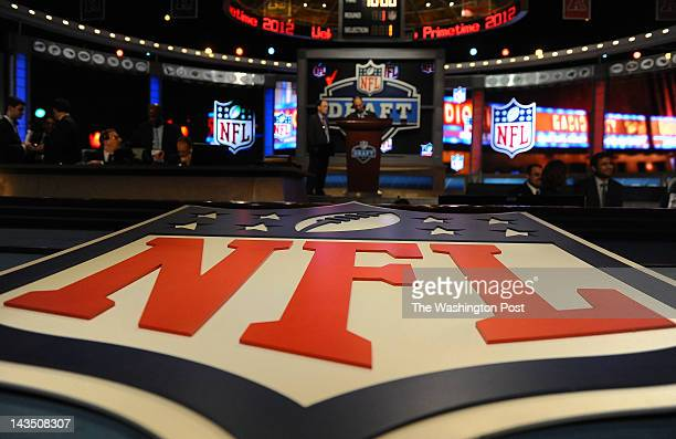 NEW YORK NY April 26 2012 Logo at center stage of the NFL Draft on April 26 2012 in New York NY