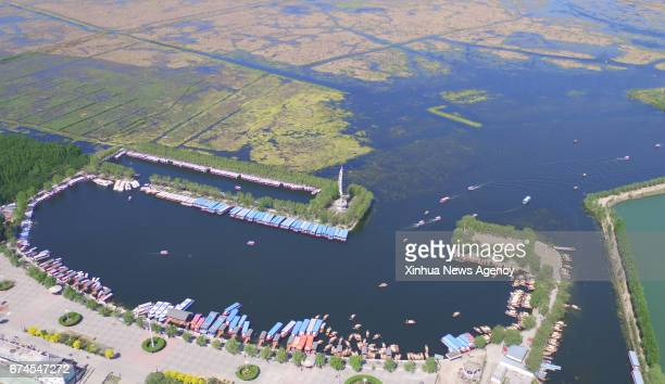 SHIJIAZHUANG April 27 2017 Aerial photo taken on April 27 2017 shows the scenery of Baiyangdian one of the largest freshwater wetlands in north China...