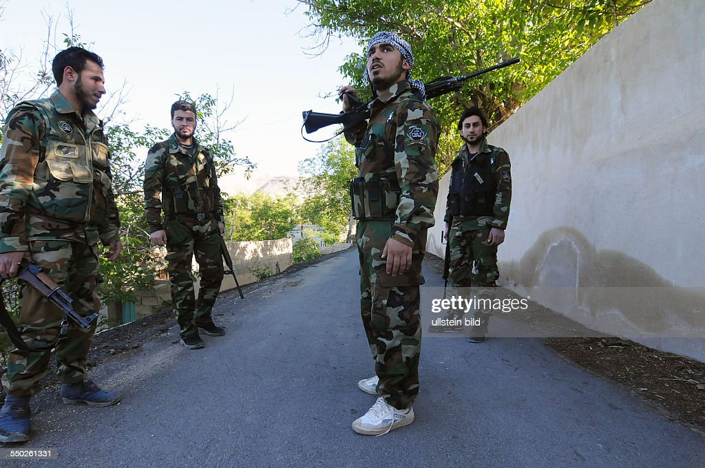 April 27 Yabrud Rif Dimashq Syria A Katiba is going on patrol in the outskirts of Yabrud This regiment is the most famous brigade in Syria fighting...