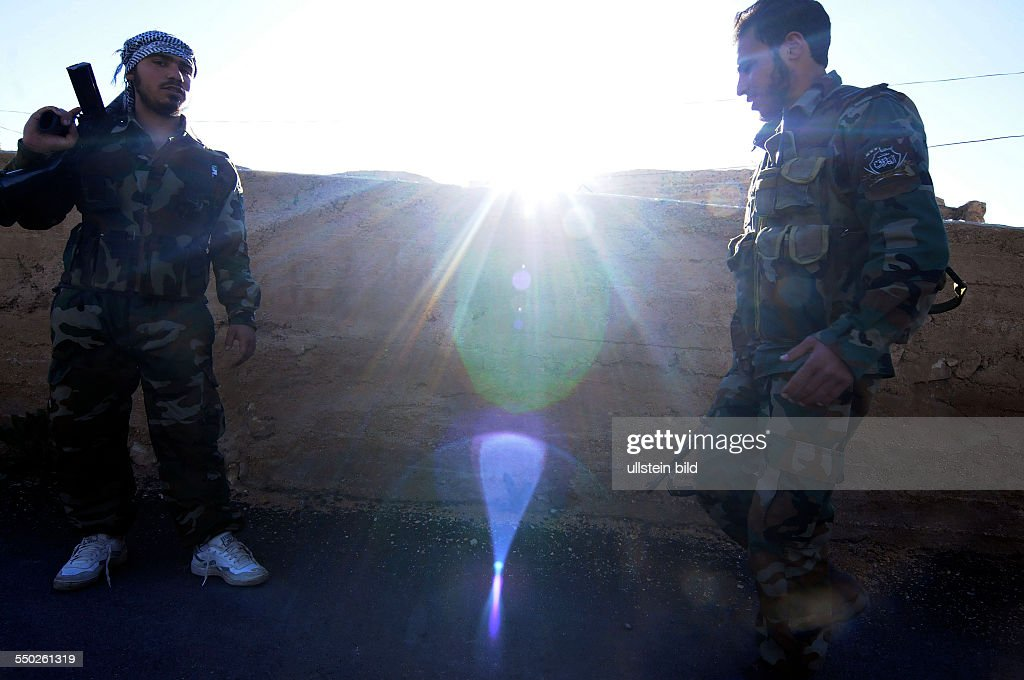 April 27 Yabrud Rif Dimashq Syria A Katiba leader is leading his men on patrol on the outskirts of Yabrud This regiment is the most famous brigade in...