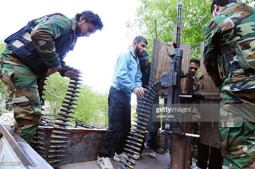 April 27 Yabrud Rif Dimashq Syria Members of the Al Faruk brigade are adding the shield to an anti aircraft gun used against government MIGS which...