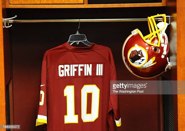 LANDOVER MD April 28 2012 A Jersey and helmet for Washington Redskins QB Robert Griffin III hangs in the locker room during Fan Fest at FedEx field...