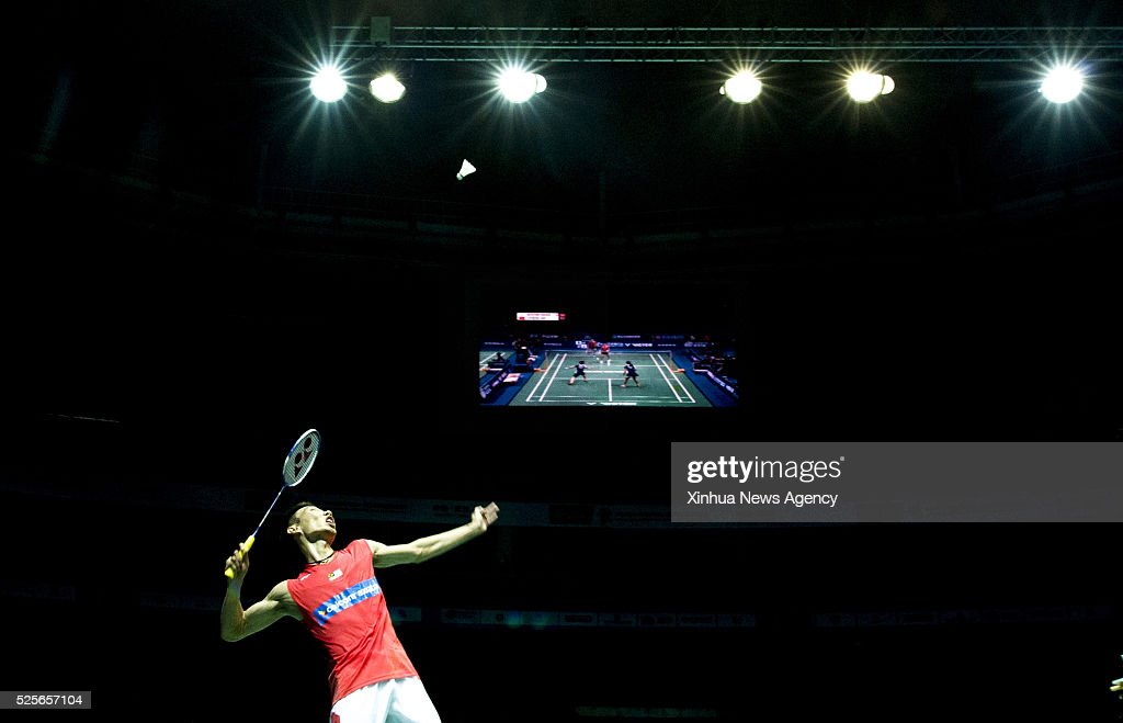 WUHAN, April 28, 2016-- Lee Chong Wei of Malaysia competes during the men's singles second round match against Wong Wing Ki Vincent of China's Hong Kong at the Dong Feng Citroen Badminton Asia Championships 2016 in Wuhan, capital of central China's Hubei Province, April 28, 2016. Lee Chong Wei won 2-0.