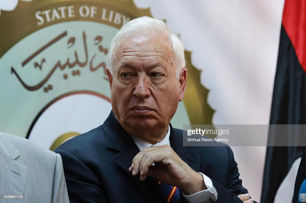 TRIPOLI, April 28, 2016 -- Spanish Foreign Minister Jose Manuel Garcia-Margallo attends a press conference following a meeting with members of the Government of National Accord, at the naval base in Tripoli where the GNA established its headquarters, capital of Libya, April 28, 2016.