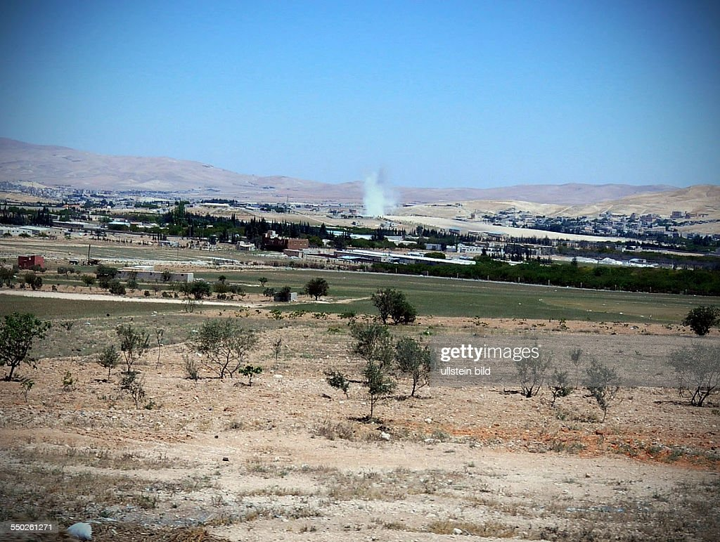 April 28 Reema Rif Dimashq Syria Government forces are shelling farms occupied by locals in order to destroy suspected FSA positions in Reema Reema...