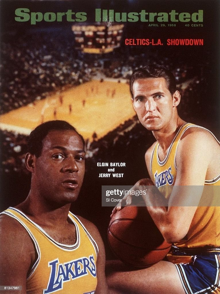 April 29 1968 Sports Illustrated Cover Basketball Closeup portrait of Los Angeles Lakers Elgin Baylor and Jerry West Dye transfer of The Forum Los...