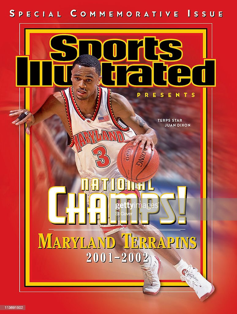 April 3, 2002 Sports Illustrated Presents Cover: College Basketball: ACC Tournament: Maryland <a gi-track='captionPersonalityLinkClicked' href=/galleries/search?phrase=Juan+Dixon&family=editorial&specificpeople=202987 ng-click='$event.stopPropagation()'>Juan Dixon</a> (3) in action vs North Carolina State during Men's Semifinals at Charlotte Coliseum. Commemorative.Charlotte, NC 3/9/2002CREDIT: Al Tielemans