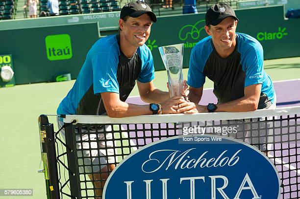 Mike and Bob Bryan win the Mens Doubles Finals 63 16 108 against Jack Sock and Vasek Pospisil at the Miami Open in Key Biscayne FL