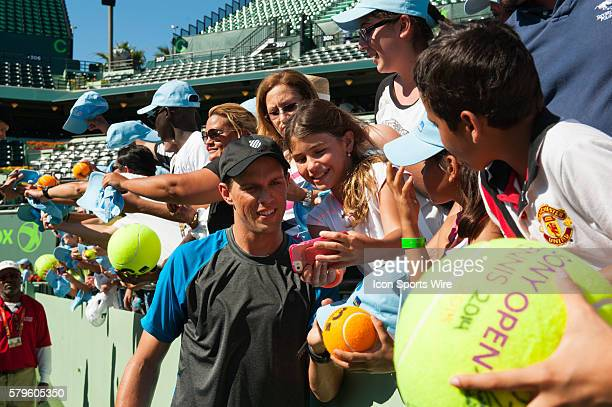 Mike Bryan signs autographs and takes photos with his fans Mike and Bob Bryan win the Mens Doubles Finals 63 16 108 against Jack Sock and Vasek...