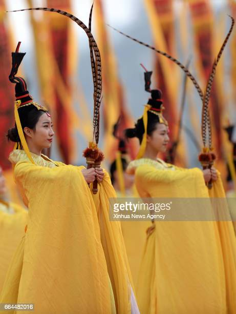 HUANGLING April 4 2017 Performers dance during a memorial ceremony to worship 'Yellow Emperor' who according to legend reigned nearly 5000 years ago...